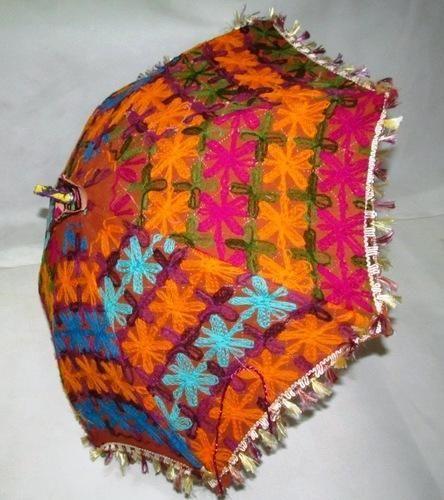 Vintage Multi Color Embroidered Umbrella