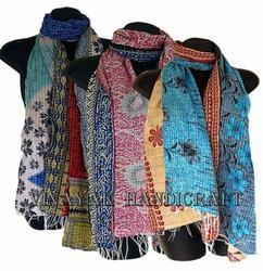 Handmade Cotton Kantha Floral Print Ladies Scarves