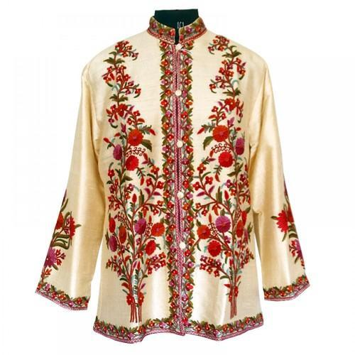 Hand Made Embroidered Cream Short Silk Jacket