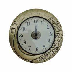 peacock design metal clock