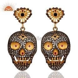 Skull Design Zircon Fashion Earrings