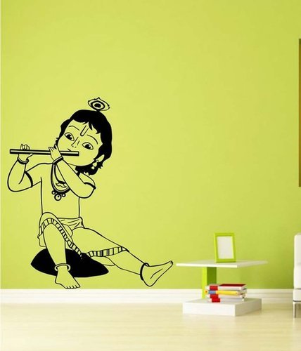 spiritual wall stickers - beautiful black god baal krishna wall