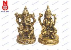 Lord Laxmi & Ganesh Sitting On RD. Base Statue