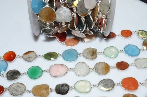 Multi Color Gemstone Bezel Set Connector Chain