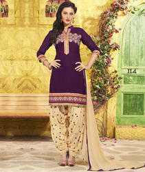 Purple Cotton Patiala Suit