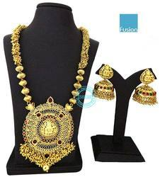 Traditional South Indian Long Temple Necklace Set