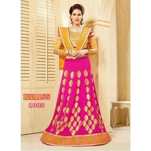 Pink and Golden Embroidered Lehenga
