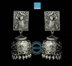 Traditional Antique Silver Antique Jhumka Earrings