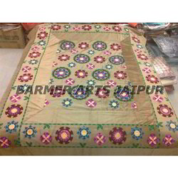 Suzani Embroidery Border Bed Cover
