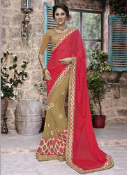 Beige and Red Partywear Saree