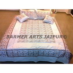 Bed Cover Silk Embroidery Sari Jaal
