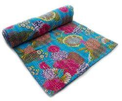 Indian Fruit Print Kantha Quilt