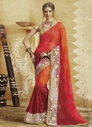 Red and Orange Partywear Saree