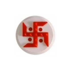 Red Swastik Round Plate Plastic Hanging