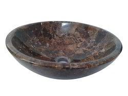 "16"" Brown Italian Stone Washbasin"