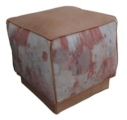 Canvas Pouf -  Leather Pouf