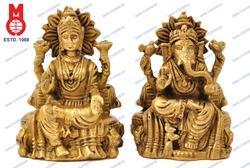 Lord Ganesh & Laxmi Sitting on Throne with Pillow