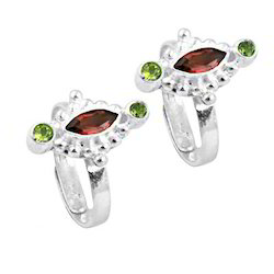 peridot gemstone silver toe rings
