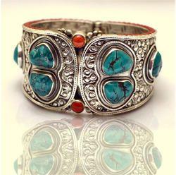 Nepali Turquoise Coral Stone Silver Bangle