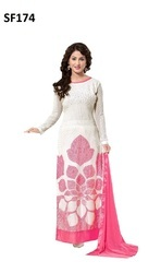White Georgette Embroidered Unstitched Dress Material