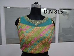 Golden Silk and Net Embroidered Stitched Blouse
