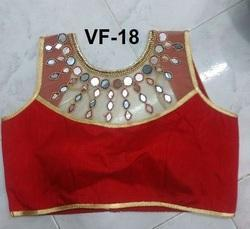 Red Embroidered Banglori Silk Stitched Blouse