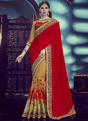 Red and Beige Partywear Saree
