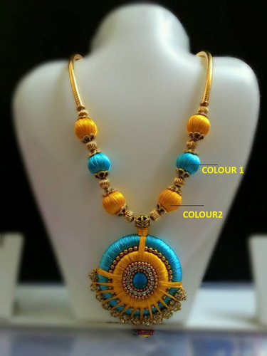 Silk thread jewellery blue and yellow necklace with stone studded blue and yellow necklace with stone studded pendant aloadofball Image collections