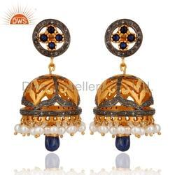 Gold Plated Diamond Jhumka Earring