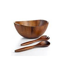Wood Bowl and Cutlery