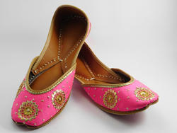 Hand Made Punjabi Soft Leather Juttis With Gota Patti Work