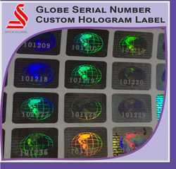 Holographic Customized Globe Serial Number Labels