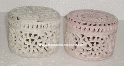 Soapstone Carved Jaali Decorative Boxes