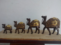 Wooden Camel Set With Mirror Work