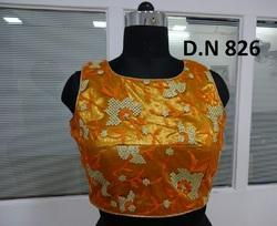 Orange Net Embroidered Sequence Thread Work Blouse