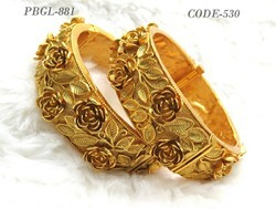 Beautiful Antique Designer Rose Shape Polki Bangles