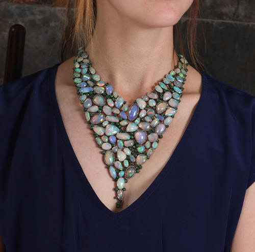 Tsavorite Gemstone Opal Victorian Necklace