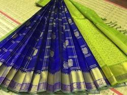 Kuppadam Silkcotton Zari Checks Butta Sarees