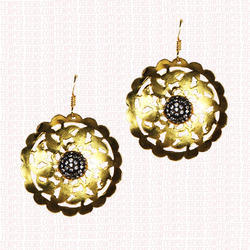 Round Earring with Flower Design