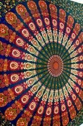 Blue Cotton Mandala Bed Cover In Tradional Jaipur Color