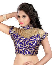 Blue Cotton and Net Mirror Work Blouse