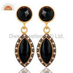 Natural Black Onyx Dangle Earrings