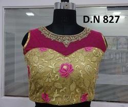 Golden & Pink Net Embellished Stitched Blouse