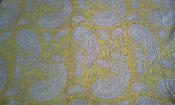 Yellow Paisley Block Printed Fabric