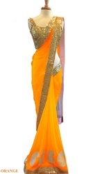 Embroidery Net Fabric Sarees