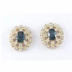 Sapphire Gemstone And Diamond 14K Yellow Gold Earring