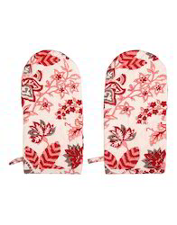 Heat-Proof Printed Machine Quilted Kitchen Mittens Oven Gloves