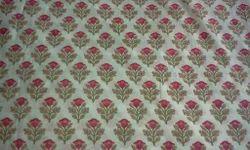 Rose Design Block Printed Fabric