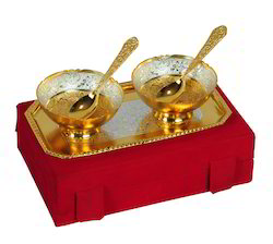 VESPL Festival Gifts Silver And Gold Plated Brass Bowl 5 Pcs