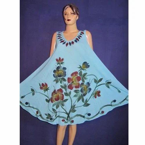 Hand Paint Batik Blue Umbrella Dress